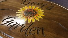 Sunflower Decor- Hardwood, Carved sign has a vibrant hand painted flower! A great gift or anniversary present for the hard to buy for!  This sign measures 16 x 11 and is 5/8 inches thick, There is a keyhole slot cut into the back of each sign for versatile and easy mounting.  This sign can be personalized with any name. *It is also available on PVC Board for an additional cost: https://www.etsy.com/listing/277351826/custom-garden-pvc-signs  Garden signs, welcome ...