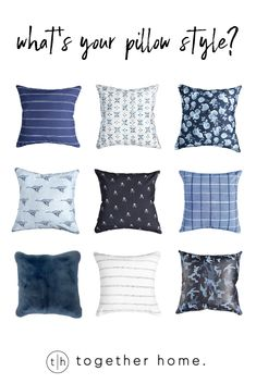 Blue pillows for every style. Blue Pillows, Throw Pillows, Decorative Pillows, Pillow Covers, Home Decor, Style, Cushions, Homemade Home Decor, Pillow Case Dresses