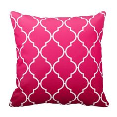 Quatrefoil Ombre Geometric | fuschia Pillow