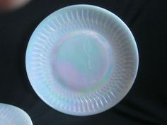 Fire King Aurora Dinner Plates 4 White Milk Glass Iridescent Mint Condition Rare