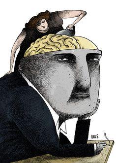 """""""Cerebro"""" por Ares. Arístide Esteban Hernández Guerrero (Ares) es el caricaturista cubano con mayor número de premios nacionales e internacionales. Graduado de médico y psiquiatra, es caricaturista, ilustrador y pintor autodidacta. #Ares #caricaturista #cubano #Cuba #premio #medico #psiquiatra #ilustrador #pintor #pintura #caricatura"""