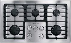 """View the Electrolux E36GC70FSS 36"""" Deep Sump Gas Cooktop with 5 Sealed Burners, Continuous Grates and Electronic Ignition at Build.com."""