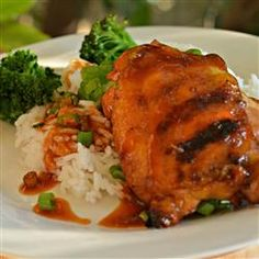 """""""'Huli Huli Chicken' (turn, turn) was invented by Ernest Morgado when he cooked teriyaki chicken for a group of farmers in This has. Teriyaki Chicken, Baked Chicken, Chicken Recipes, Chicken Meals, Healthy Chicken, Huli Huli Chicken, Cucumber Sandwiches, Tasty, Yummy Food"""