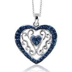 bb5cf4cff0f7 Blue Diamond Heart Pendant in Sterling Silver