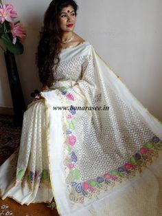 Banarasee Handwoven Net Saree Floral Border-White