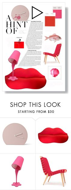 """""""A Hint of Red & Pink"""" by froileinwalther ❤ liked on Polyvore featuring interior, interiors, interior design, home, home decor, interior decorating, Menu, LumiSource and Vintage Print Gallery"""
