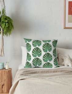 'Monstera Tropical Fern Leaf Pattern' Throw Pillow by houseofenigma Floor Pillows, Bed Pillows, White Throw Pillows, Duvet, Bedding, Ferns, Pillow Cases, Tropical, Leaves