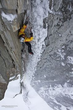 Nick Bullock on the FA of Homeward Bound (M6+), Argentiere Icefalls. Alpine Exposures- Jon Griffith Photography