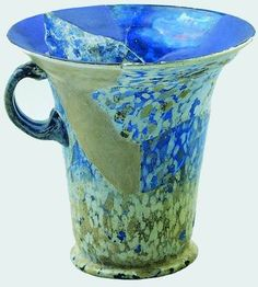 The Israel Museum Permanent Galleries  Large cup   Eastern Mediterranean   1st-2nd century CE   Blown glass, blue with white flecks   H: 13.4; Diam: 14.4 cm   Gift of Arieh Klein, Jerusalem   Accession number: 79.5.2