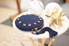 ● Bolso de fiesta Olivia *ROSES* azul marino | Cordón de seda y rosas de latón | Diseño de Olvido Madrid