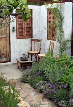 Nice corner for a Mediterranean garden with old wooden shutters. Even more great - Nice corner for a Mediterranean garden with old wooden shutters. Even more great - Small Courtyard Gardens, Small Courtyards, Small Gardens, Outdoor Gardens, Courtyard Ideas, French Courtyard, Courtyard Design, French Patio, Small Backyard Gardens