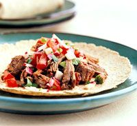 Beef and Chipotle Burritos - I add a few more peppers and Hot Rotel to make it hot - tried it with chuck roast this week and even tastier but more calories -delicious