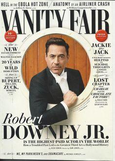 Vanity Fair magazine Robert Downey Jr Ebola Jackie Kennedy New establishment Web Design, Layout Design, Robert Downey Jr., Susan Downey, Graphic Design Magazine, Magazine Cover Design, Editorial Layout, Editorial Design, Typographie Fonts