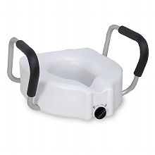 Elevated toilet seat with lock and arms. You will find that the arms on this product will help.