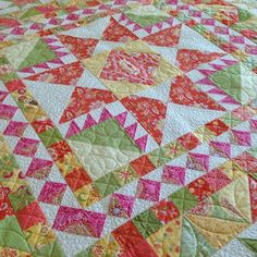 Thelma (@thelmacupcake) | Summer Wind is home from the quilter. Fabric is High Street by Lily Ashbury for Moda, pattern by Miss Rosie Quilt Co.