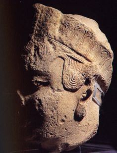 A head of La Dama de Elche from Alicante, circa 500 BCE. The feather-like pattern of the crown is found in Canaanite and Greek art, where it appears in headdresses of goddesses.
