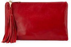 Lauren Merkin Small Leather Tassel Pouch Bag, Red