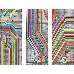 urban thoroughfare. Technicolor subway lines navigate graphic triptych by Chicago-based artist Matthew Lew. Merging inspiration from mass transit in major cities, Lew maps out an abstract system over aerial grayscale plot.