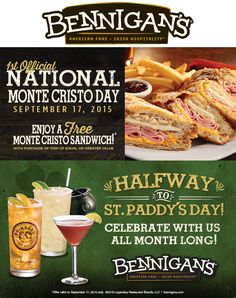 Bennigans coupons & Bennigans promo code inside The Coupons App. Second monte cristo sandwich free Thursday at Bennigans April Monte Cristo Sandwich, Restaurant Marketing, Thursday, Coupons, Sandwiches, September, App, Free, Apps