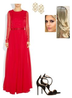 """""""Untitled #8556"""" by gracebeckett on Polyvore featuring Gianvito Rossi and Oscar de la Renta"""