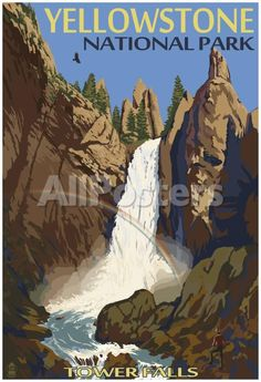 Tower Falls - Yellowstone National Park Landscapes Poster - 33 x 48 cm