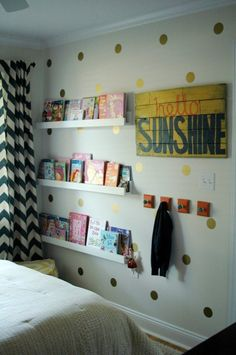 A Coral, Navy & Yellow Color Scheme for Paige's Room-- love the polka dots and book shelves