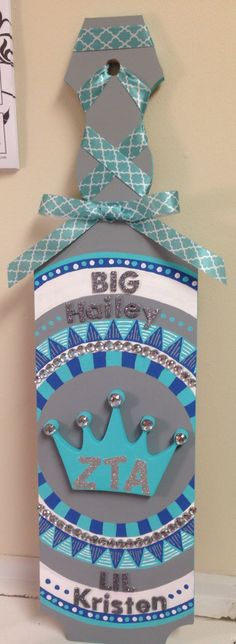 Big Little sorority paddle exchange! Aztec print with laced up ribbon and bow. ZTA. Zeta Tau Alpha Fraternity.