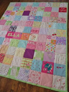 Gorgeous baby clothes quilt