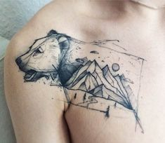 Bear and Landscape tattoo by Kamil Mokot