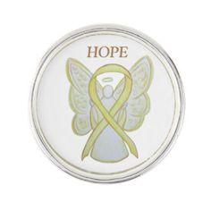 Yellow Awareness Ribbon Angel Custom Lapel Pin Art for Bladder Cancer or Sarcoma/ Bone Cancer