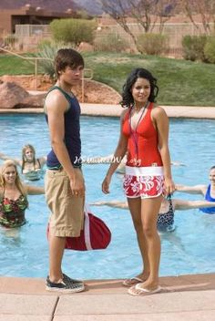 Troy and Gaby by the pool