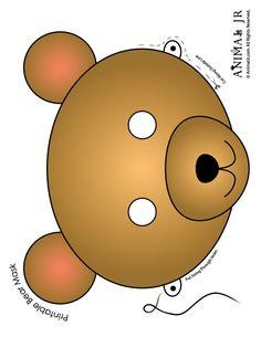Printable Animal Masks: Bear Mask Brown Bear Mask to Print – Craft Jr.