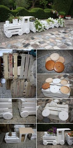 Wooden Pallet Projects You'll Love This Amazing Crate Train Planter - You will love this Wooden Train Garden Planter Made With Crates and it's an easy DIY you'll love to try. Check out all the ideas now and watch the video. Wooden Pallet Projects, Pallet Crafts, Wooden Pallets, Wooden Diy, Wood Crafts, Pallet Ideas, Diy Pallet, Garden Pallet, Wooden Garden