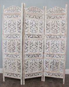 mango wood with white wash finish hand carved room screen