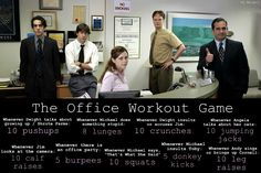 The Office Workout Game! I watch this a lot, so this will come in handy! The Office Workout Game! I watch this a lot, so [. Tv Workout Games, Tv Show Workouts, Workout Humor, Fun Workouts, At Home Workouts, Fit Girl Motivation, Fitness Motivation, Office Exercise, Office Workouts
