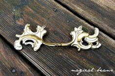 Vintage French Provincial Solid Brass Drawer Pull in Gold/White at MagicalBeansHome.com