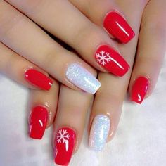 30 Super Cute Red Acrylic Nail Designs To Inspire You ; matte nails for fall;easy designs for short nails; Cute Christmas Nails, Xmas Nails, Christmas Nail Art Designs, Winter Nail Designs, Holiday Nails, Christmas Design, Winter Christmas, Christmas Ideas, Christmas Acrylic Nails