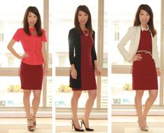 All About Fashion Stuff: Incorporating Burgundy Into My Closet - style burgundy shift dress from H in 7 ways- I love the black cardi!