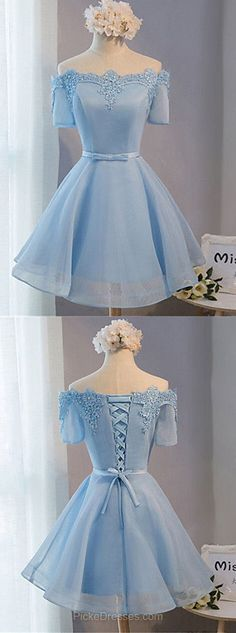 Blue Short Prom Dresses 2018,A-line Prom Dresses Off-the-shoulder, Satin Homecoming Dresses Organza, Sexy Short Prom Dresses For Teens