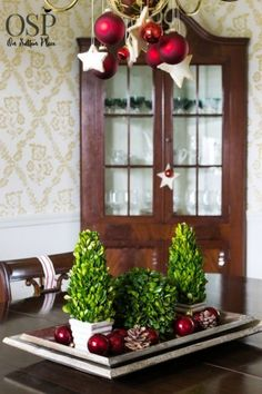 Easy Christmas Decorating Ideas | Festive, Fun & Fast | DIY inspiration for decorating your home for the holidays on a budget. Preserved boxwood centerpiece.