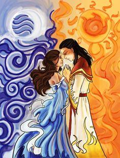 Avatar the Last Airbender - Zuko x Katara - Zutara Avatar Aang, Katara Y Zuko, Avatar The Last Airbender Art, Team Avatar, Prince Zuko, Legend Of Korra, Moon Art, Pretty Art, Anime Manga