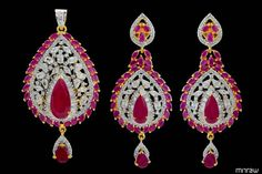 Amazing pink stone studded pendants