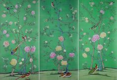 G & W Collections: Chinoiserie Papers - Song Sassoon (panels) griffin and wong Room Divider Headboard, Lisa, Chinoiserie Wallpaper, Room Dividers, Headboards, Powder Room, Sea Glass, Screens, Accent Decor