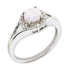 Round Opal October Birthstone Diamond Sterling Silver Ring Available Exclusively at Gemologica.com
