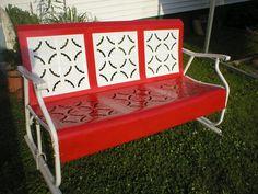 Vintage Metal Porch Glider Piecrust fresh Enamel Paint $400
