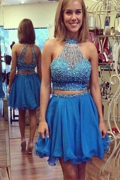 Blue homecoming dress; Blue prom dress; Blue party dress; Two piece homecoming…