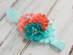 Baby Headband, Coral and Aqua Headband, Girls Headbands, Baby Girl Headband, Newborn Headband, Baby Bows, Baby Headband, Peach, Mint | Etsy