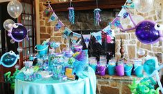 An Under the Sea Mermaid Party! - Adorable ideas including sandcastle centerpiece and balloon fish