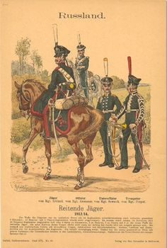 Knotel 874: Line Chasseur a Cheval 1813-14.Livaland, Arsamass, Sewersk & Dorpat regiments.