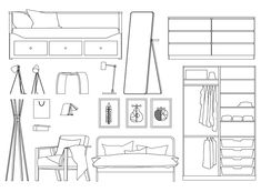 Minimal Furnitures Dwg - All About Decoration Interior Design And Space Planning, Interior Design And Technology, Interior Design Presentation, Interior Design Sketches, Modern Interior Design, Architecture Concept Drawings, Architecture Design, Interior Architecture Drawing, Autocad